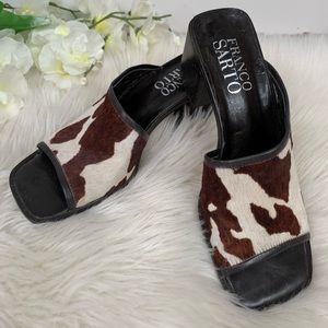 Franco Sarto Square Toe Slip On Sandals 8 1/2M